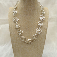 Handmade Freeform Silver Wire Necklace