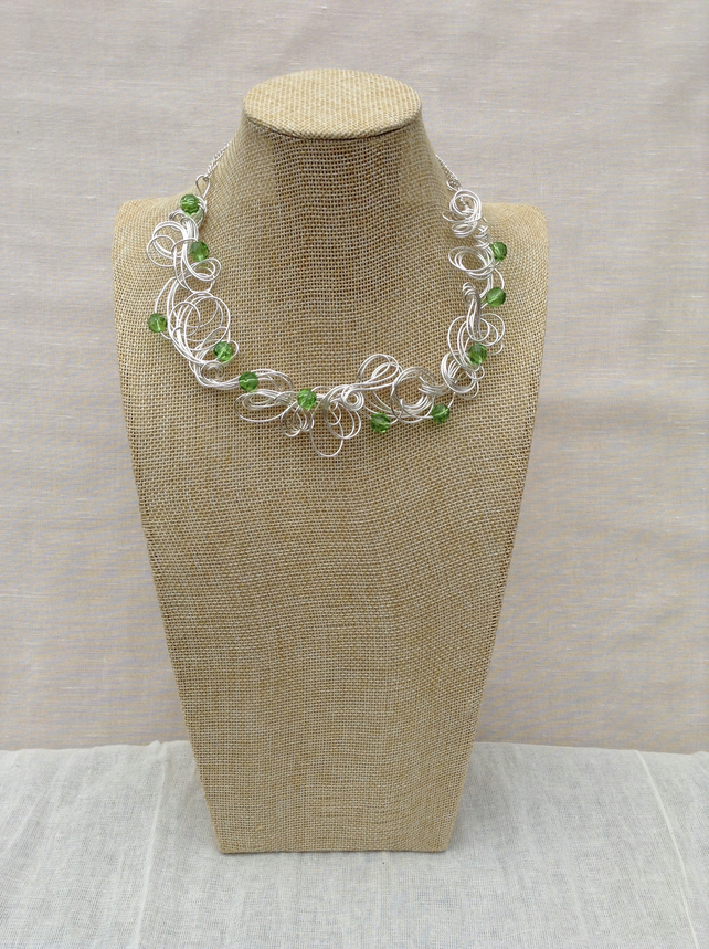 Handmade Organic Silver Wire and Green Crystal Necklace  Statement Necklace.