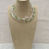Handmade Organic Silver Wire and Green Crystal Necklace