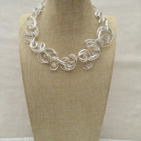 Handmade Organic Silver Wire and   Crystal Necklace