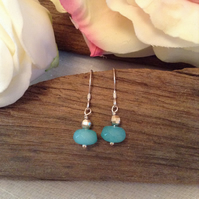 Sterling Silver Aquamarine Earrings   March Birthstone