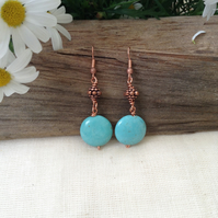 Handmade Gem Turquoise and Dotty Copper  Earrings.    December Birthday