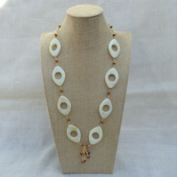 Lime Jade and Bronze Crystal Necklace