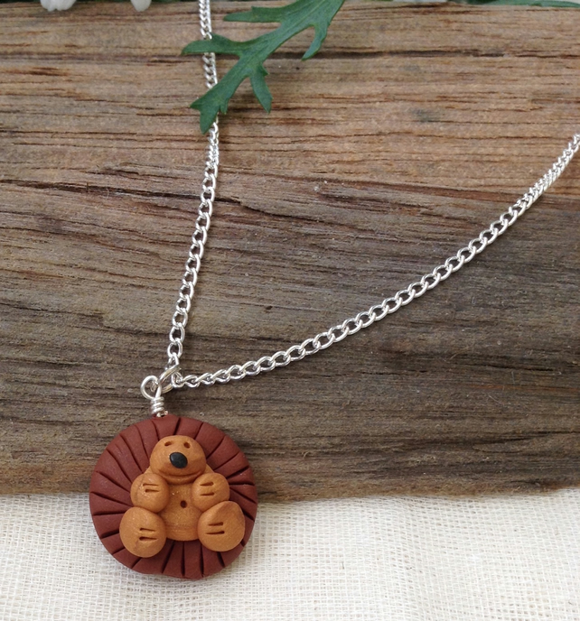 Hedgehog Pendant.  Novelty Necklace