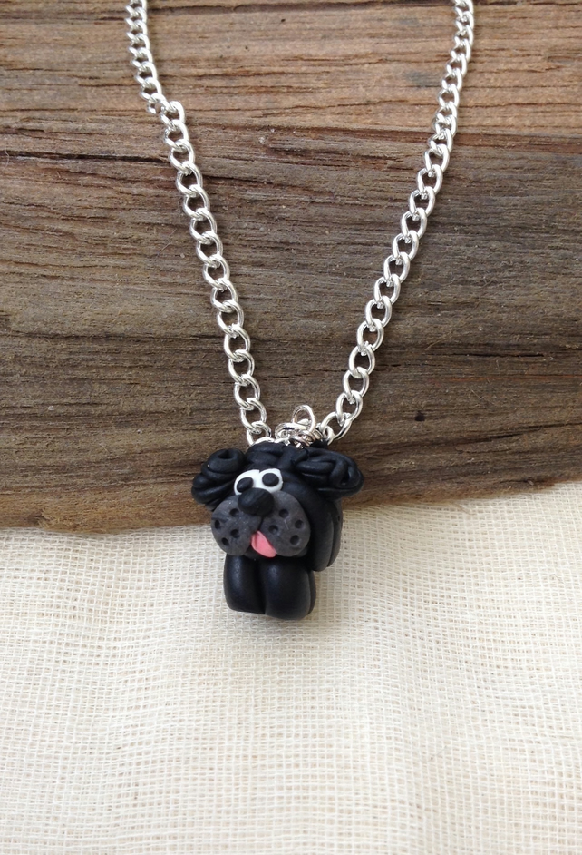 Black Dog Necklace   Handmade Necklace  Animal Necklace. Animal Jewellery