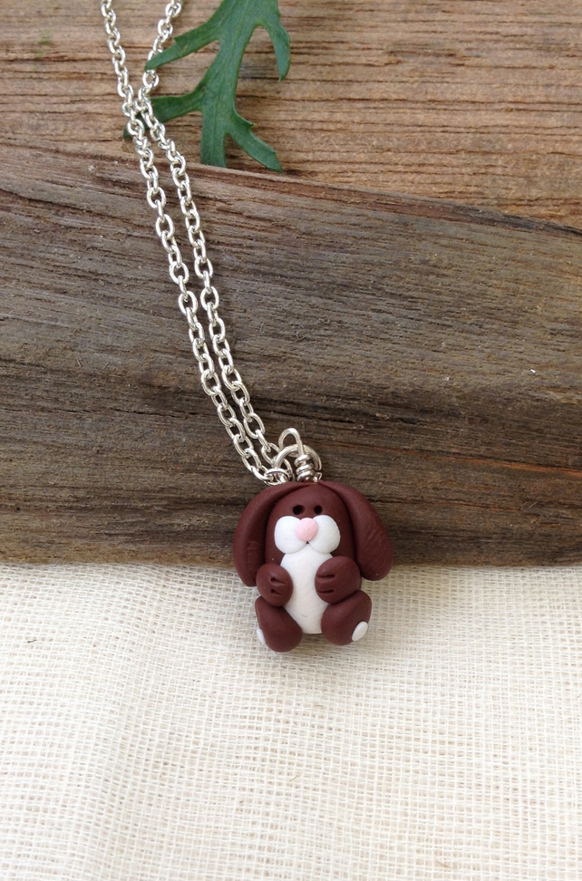 Brown Rabbit  Necklace   Handmade Necklace   Animal Necklace. Animal Jewellery