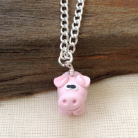 Pink Pig Necklace.  Animal Necklace.  Animal Jewellery  Handmade Necklace
