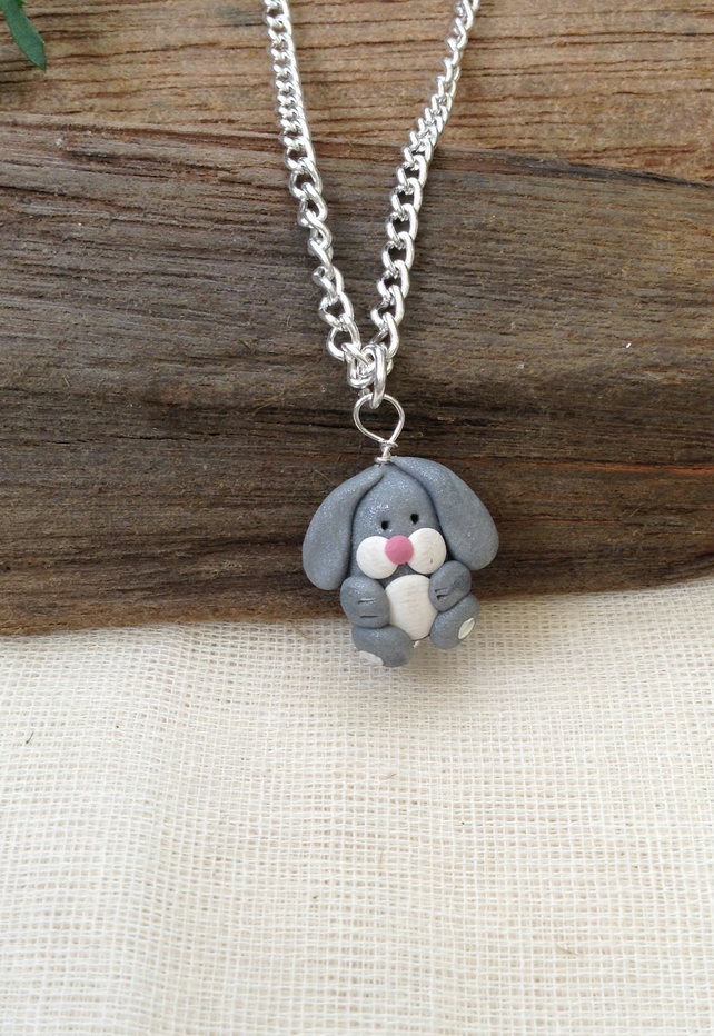 Grey Rabbit  Necklace   Handmade Necklace  Animal Necklace. Animal Jewellery