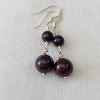 Garnet Gemstone Earrings, Double Drop.  January Birthstone