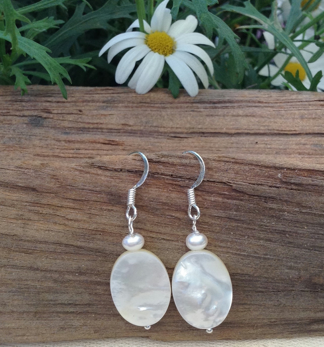 Freshwater Pearl and Mother of Pearl Earrings