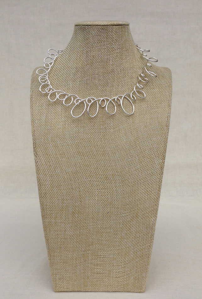 Silver Loop Necklace  Shorter Length Necklace
