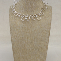 Silver Wire Loop Necklace  Shorter Length Necklace  Wire Necklace