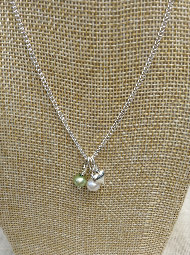 Sage Green and Ivory Freshwater Pearl,  Silver Heart Necklace