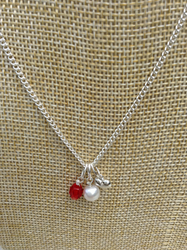 Ivory Freshwater Pearl, Red Crystal and Silver Heart Necklace