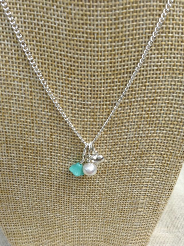 Ivory Freshwater Pearl, Turquoise Glass Flower  and Silver Heart Necklace