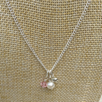 Ivory Freshwater Pearl, Pink Crystal and Silver Heart Necklace