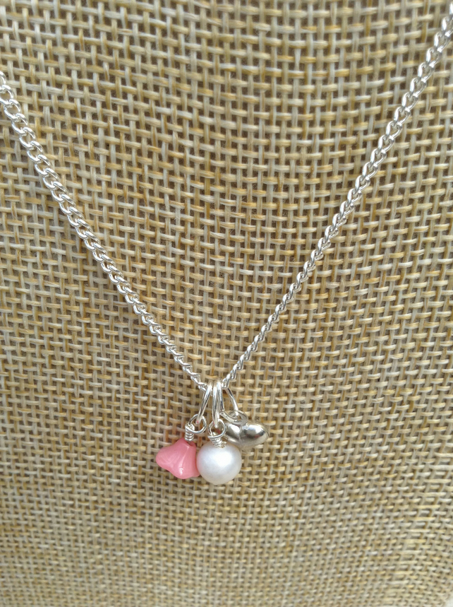 Ivory Freshwater Pearl, Pink Glass Flower  and Silver Heart Necklace