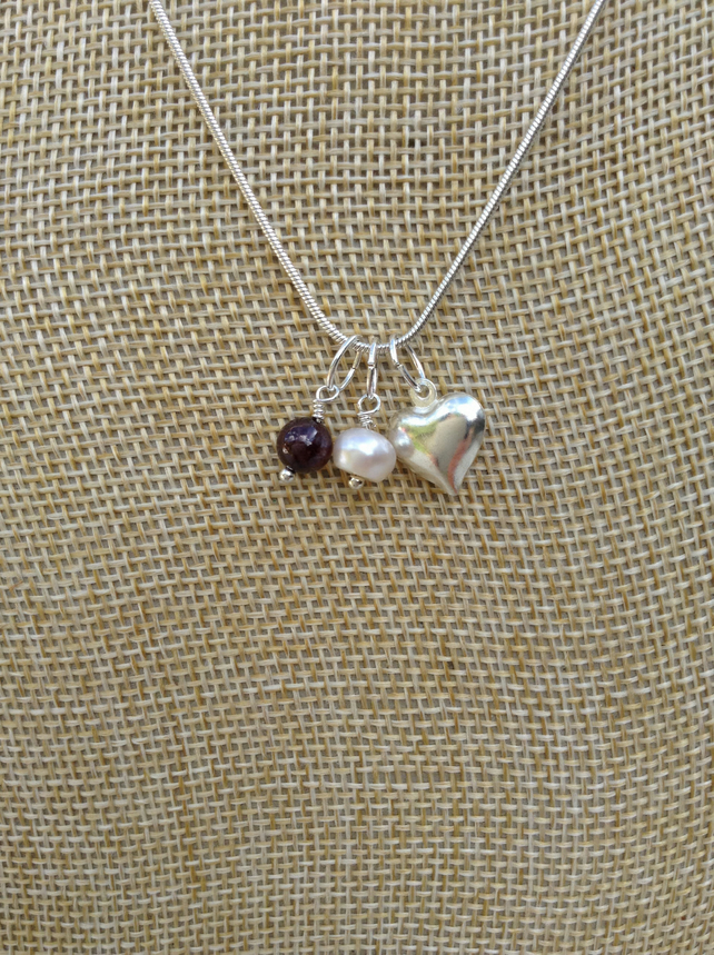 Birthstone Necklace, Garnet, Freshwater Pearl and Heart   January Birthstone