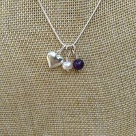 Birthstone Necklace, Amethyst,  Freshwater Pearl and Heart February  Birthstone