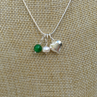 Birthstone Necklace, Emerald  Freshwater Pearl and Heart  May  Birthstone
