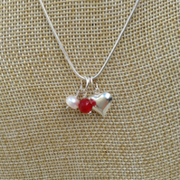 Birthstone Necklace, Ruby, Freshwater Pearl and Heart  July  Birthstone