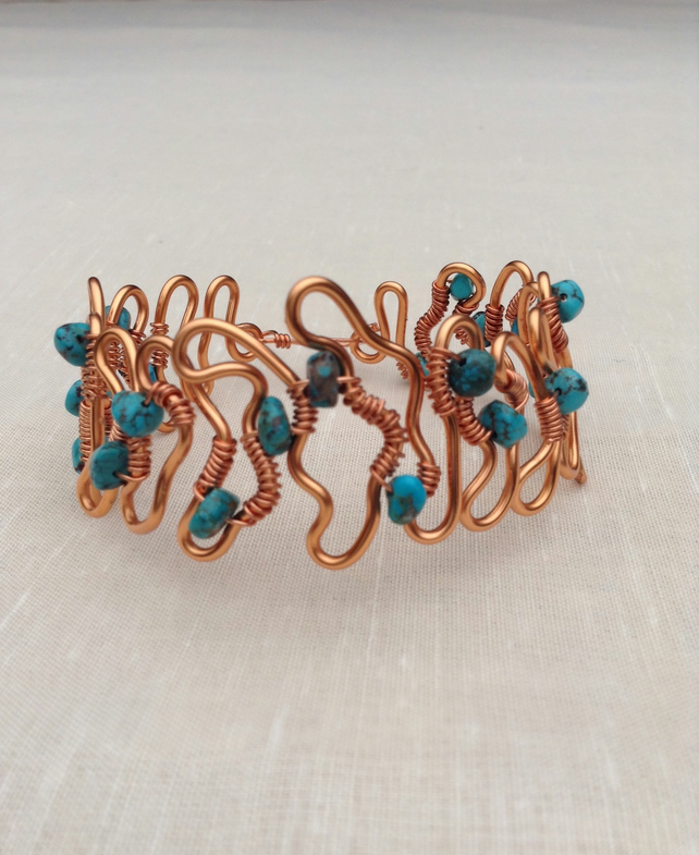 Natural Turquoise Copper Ripple Cuff  Birthstone Cuff