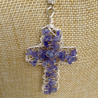 Chunky Wire Cross Pendant with Tanzanite Gemstones   Handmade Necklace