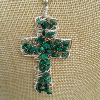 Chunky Wire Cross Pendant with Malachite  Gemstones