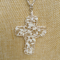 Chunky Wire Cross Pendant with Quartz Crystal Gemstones