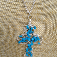 Chunky Wire Cross Pendant with Turquoise Gemstones