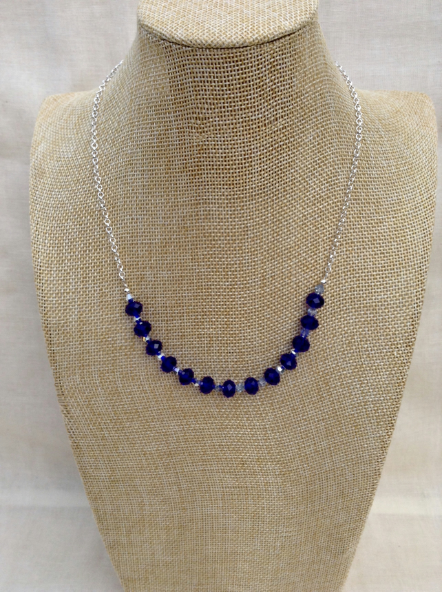 Royal Blue Crystal And Chain Necklace