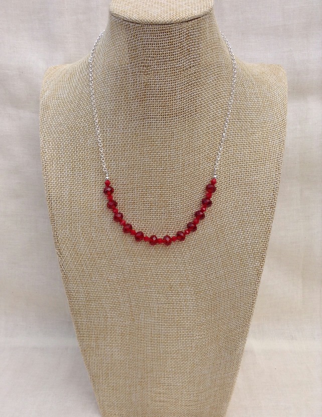 Red Crystal And Chain Necklace