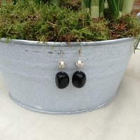 Chunky Black Obsidian and Carved Stardust Earrings