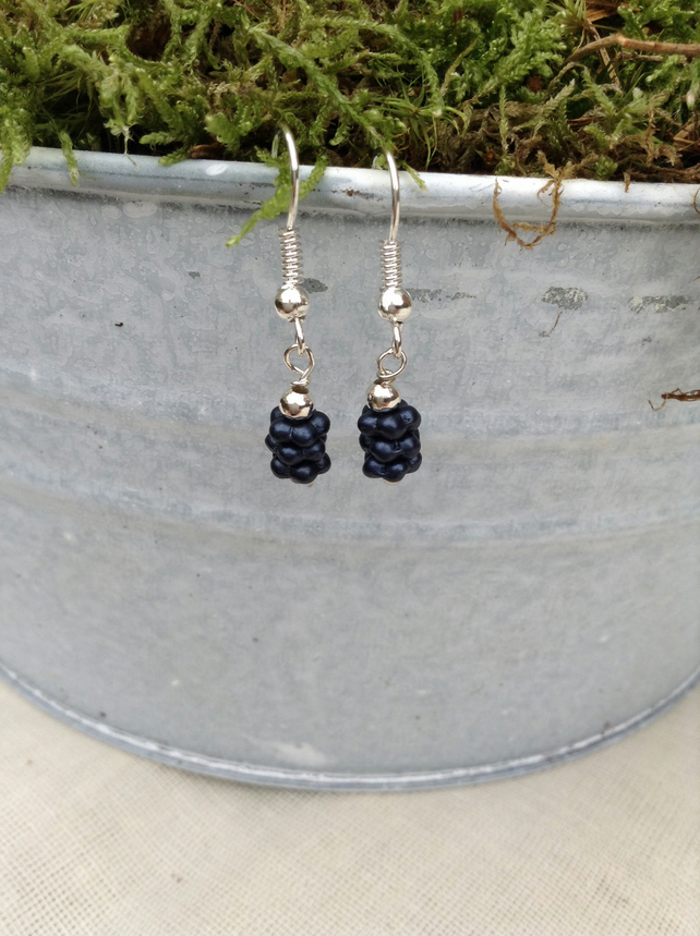 Matt Black Glass Earrings