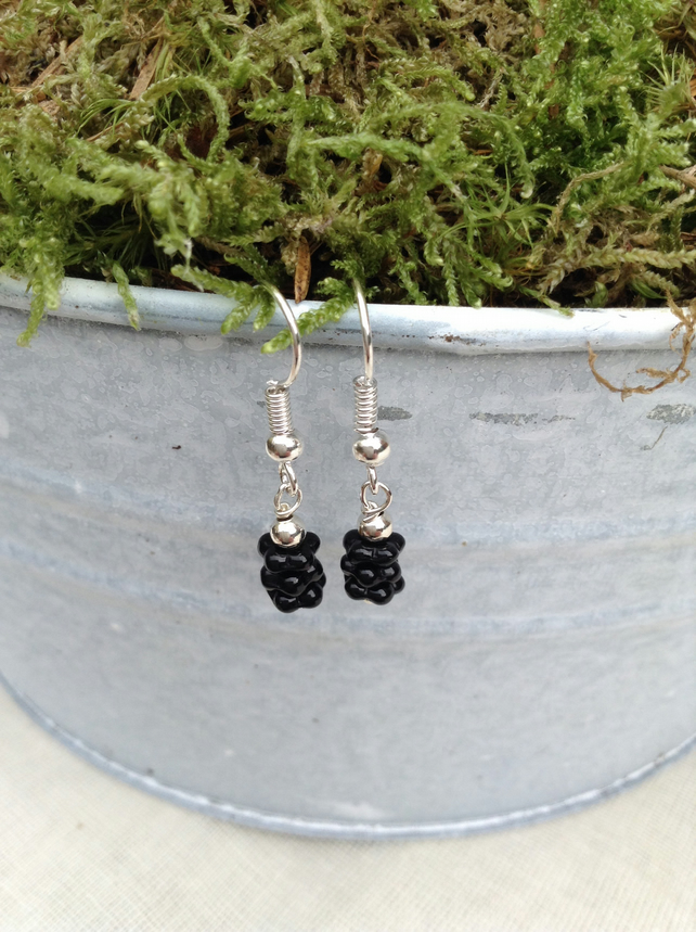 Shiny  Black Glass Earrings