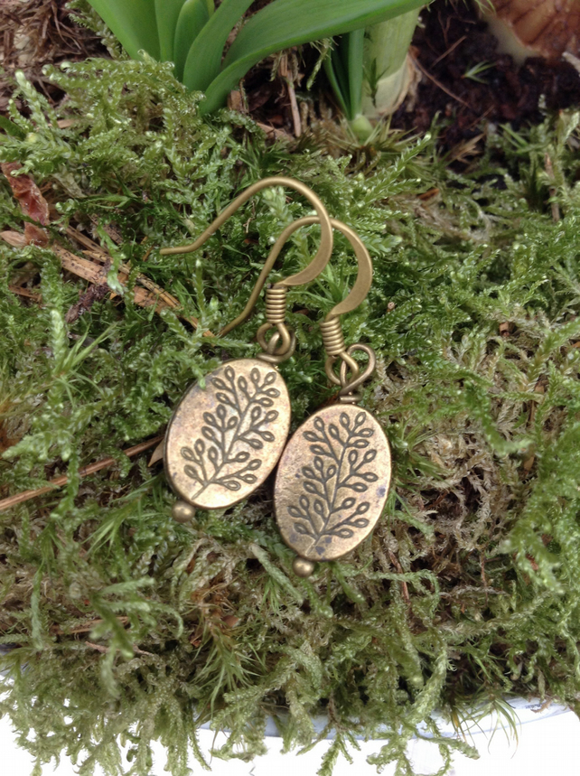 Patterned Brass Oval Earrings