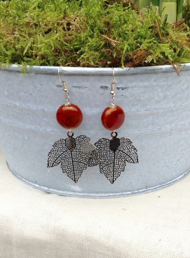 Maple Leaf and Rusty Red Ceramic Earrings
