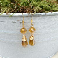 Golden Amber Crystal Earrings