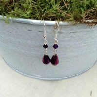 Deep Purple Sparkly Teardrop Crystal Earrings