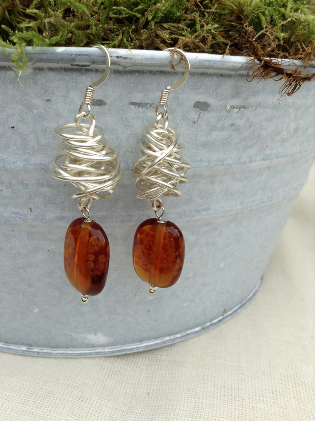Chunky Spotty Amber Glass and Silver Wire  Twist Earrings