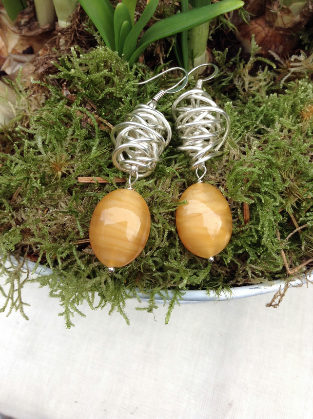 Chunky Butterscotch Glass and Silver Wire Twist Earrings