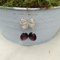 Chunky Silver Lined Aubergine Glass and Silver Wire Twist Earrings