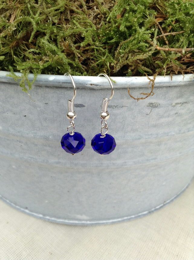 Sparkly Royal Blue  Crystal Earrings