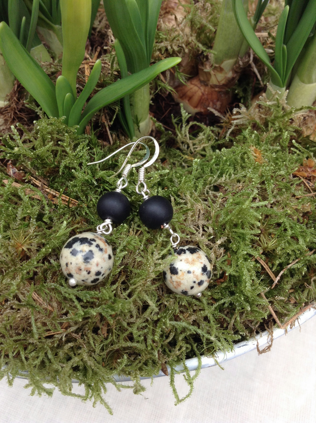Dalmatian  Jasper and Black Agate Earrings