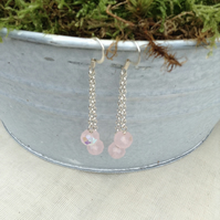 Pink  Crystal and Chain Earrings