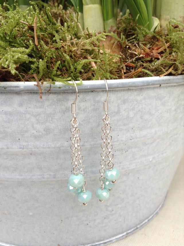Porcelain Blue Crystal and Chain Earrings
