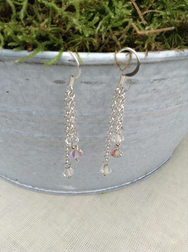 Aurora Borealis Crystal and Chain Earrings