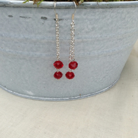 Red Crystal and Chain Earrings