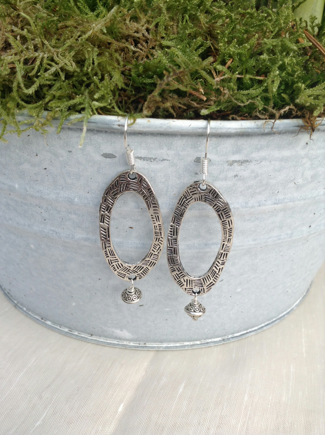 Curvy Metal Oval and Tibetan Silver Rondelle Earrings