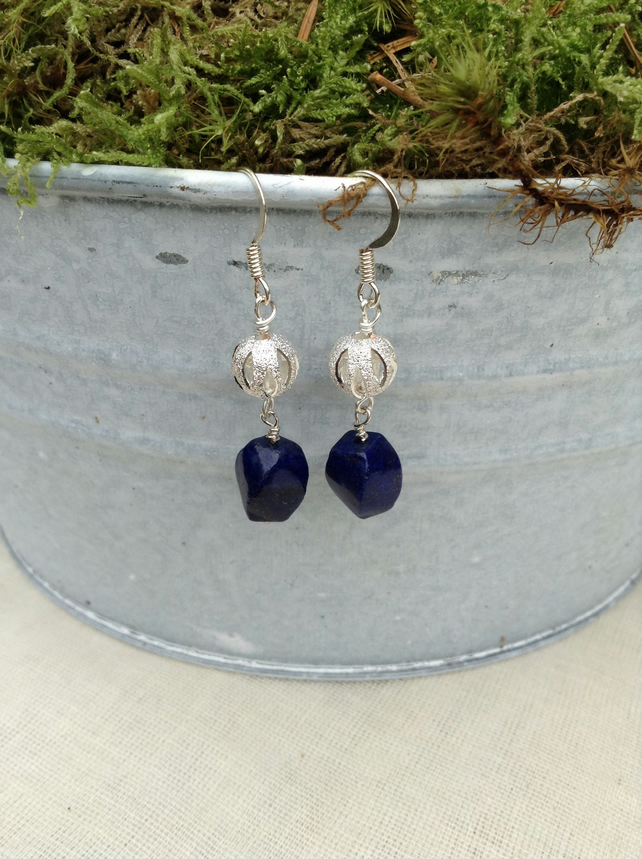 Lapis Lazuli Gemstone and Carved Stardust Earrings